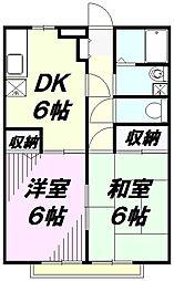 埼玉県入間市小谷田4丁目の賃貸アパートの間取り