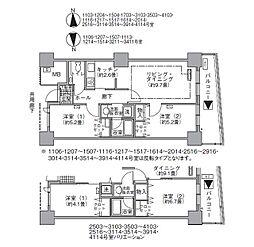 JR山手線 浜松町駅 徒歩3分の賃貸マンション 32階2LDKの間取り