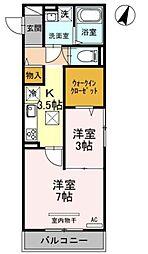 JR京浜東北・根岸線 大宮駅 徒歩18分の賃貸アパート 1階1LDKの間取り