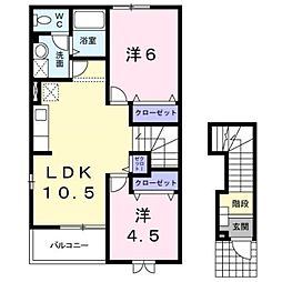 岡山県倉敷市南畝5丁目の賃貸アパートの間取り