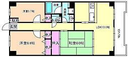 大阪府枚方市長尾谷町2丁目の賃貸マンションの間取り