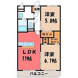JR日光線 鶴田駅 徒歩16分の賃貸マンション 3階2LDKの間取り