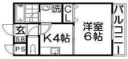ユーベル1[1階]の間取り