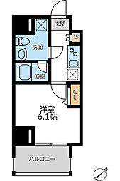 JR京浜東北・根岸線 横浜駅 徒歩8分の賃貸マンション 7階1Kの間取り