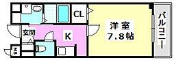 大阪モノレール彩都線 彩都西駅 徒歩12分の賃貸マンション 3階1Kの間取り