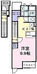 東京都羽村市五ノ神4丁目の賃貸アパートの間取り
