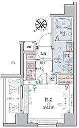 リヴシティ横濱蒔田ステーションアリーナ 5階1Kの間取り