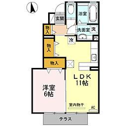 愛知県豊橋市佐藤3丁目の賃貸アパートの間取り