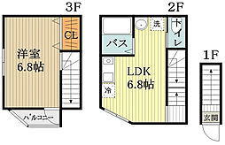 西武多摩湖線 一橋学園駅 徒歩10分の賃貸アパート 2階1DKの間取り
