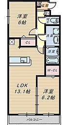 大阪府堺市堺区石津町3丁の賃貸アパートの間取り
