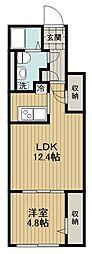 東京メトロ副都心線 地下鉄成増駅 徒歩2分の賃貸マンション 1階1LDKの間取り