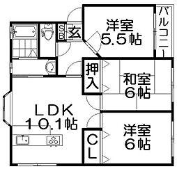 大阪府寝屋川市寿町の賃貸マンションの間取り