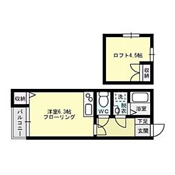 福岡県福岡市中央区大手門3丁目の賃貸アパートの間取り