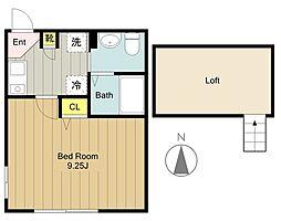 神奈川県大和市福田の賃貸アパートの間取り