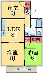 千葉県市原市東国分寺台4丁目の賃貸アパートの間取り