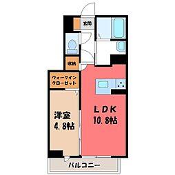 東武宇都宮線 東武宇都宮駅 徒歩14分の賃貸マンション 2階1LDKの間取り