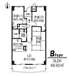 エバンタイユ[6階]の間取り