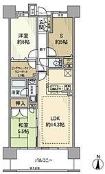JR南武線 矢向駅 徒歩7分の賃貸マンション 19階3SLDKの間取り