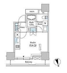ベルファース芝浦タワー 9階ワンルームの間取り