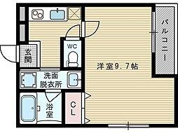 大阪府吹田市日の出町の賃貸アパートの間取り
