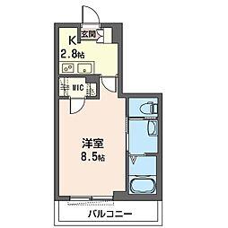 クオレール 3階1Kの間取り