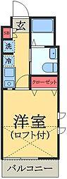 京成本線 京成臼井駅 徒歩10分の賃貸アパート 2階1Kの間取り