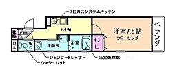 大阪府豊中市清風荘2丁目の賃貸マンションの間取り