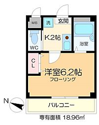シエルコート綾瀬 3階1Kの間取り