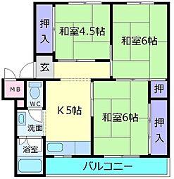 北野田グリーンハイツC棟[4階]の間取り