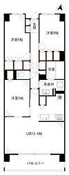 JR総武線 東中野駅 徒歩3分の賃貸マンション 5階3LDKの間取り