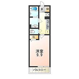 京阪本線 千林駅 徒歩2分の賃貸マンション 1階1Kの間取り