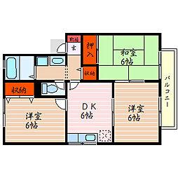 滋賀県米原市下多良3丁目の賃貸アパートの間取り