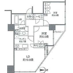 カスタリアタワー品川シーサイド 3階2LDKの間取り