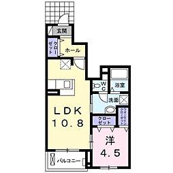 愛知県豊橋市新栄町字牟呂下の賃貸アパートの間取り