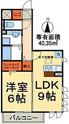 つくばエクスプレス 三郷中央駅 徒歩8分の賃貸アパート 1階1LDKの間取り