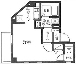 東京メトロ銀座線 浅草駅 徒歩15分の賃貸マンション 4階ワンルームの間取り
