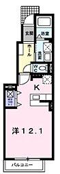 ラフレシアス 1階ワンルームの間取り