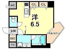 阪神本線 西宮駅 徒歩7分の賃貸マンション 4階ワンルームの間取り
