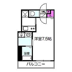 アクティコートクリスタル京橋 2階1Kの間取り