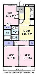 サニーコートAOKI 2階3LDKの間取り