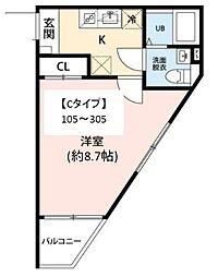 JR常磐線 柏駅 徒歩10分の賃貸マンション 2階1Kの間取り