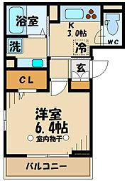 (仮)高松町3丁目レジデンスPJ 3階1Kの間取り