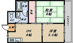 大阪府高石市西取石1丁目の賃貸マンションの間取り