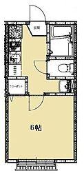 JR武蔵野線 新八柱駅 徒歩10分の賃貸アパート 1階1Kの間取り