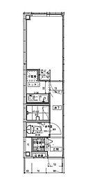 小田急小田原線 経堂駅 徒歩7分の賃貸マンション 2階1Kの間取り