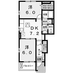 東京都稲城市大丸の賃貸アパートの間取り