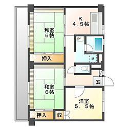 ビレッジハウス美合 4号棟[4階]の間取り