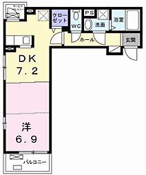 多摩都市モノレール 上北台駅 徒歩9分の賃貸アパート 2階1DKの間取り