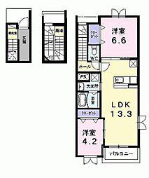 愛知県豊田市美里6丁目の賃貸アパートの間取り