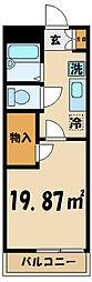 レオパレスフィデリオ 3階1Kの間取り